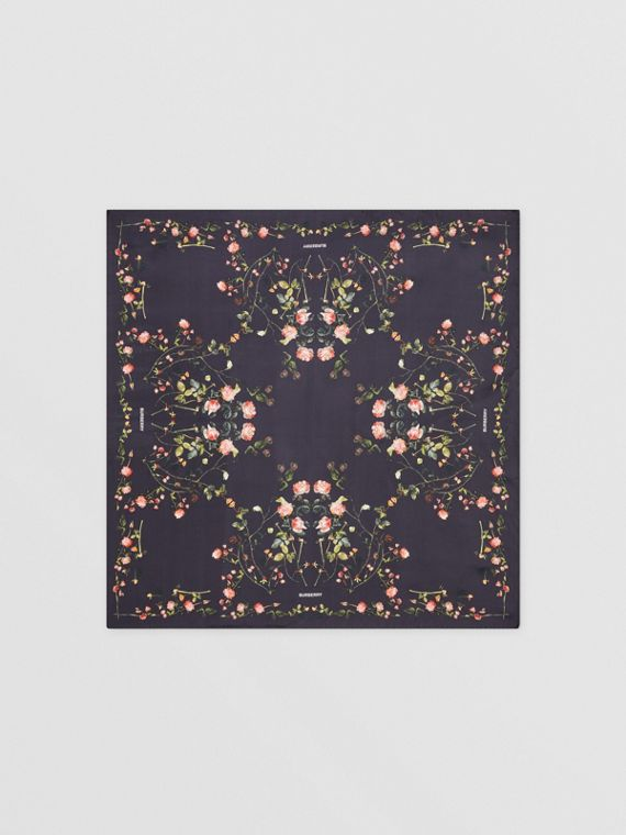 Rose Print Silk Square Scarf in Black