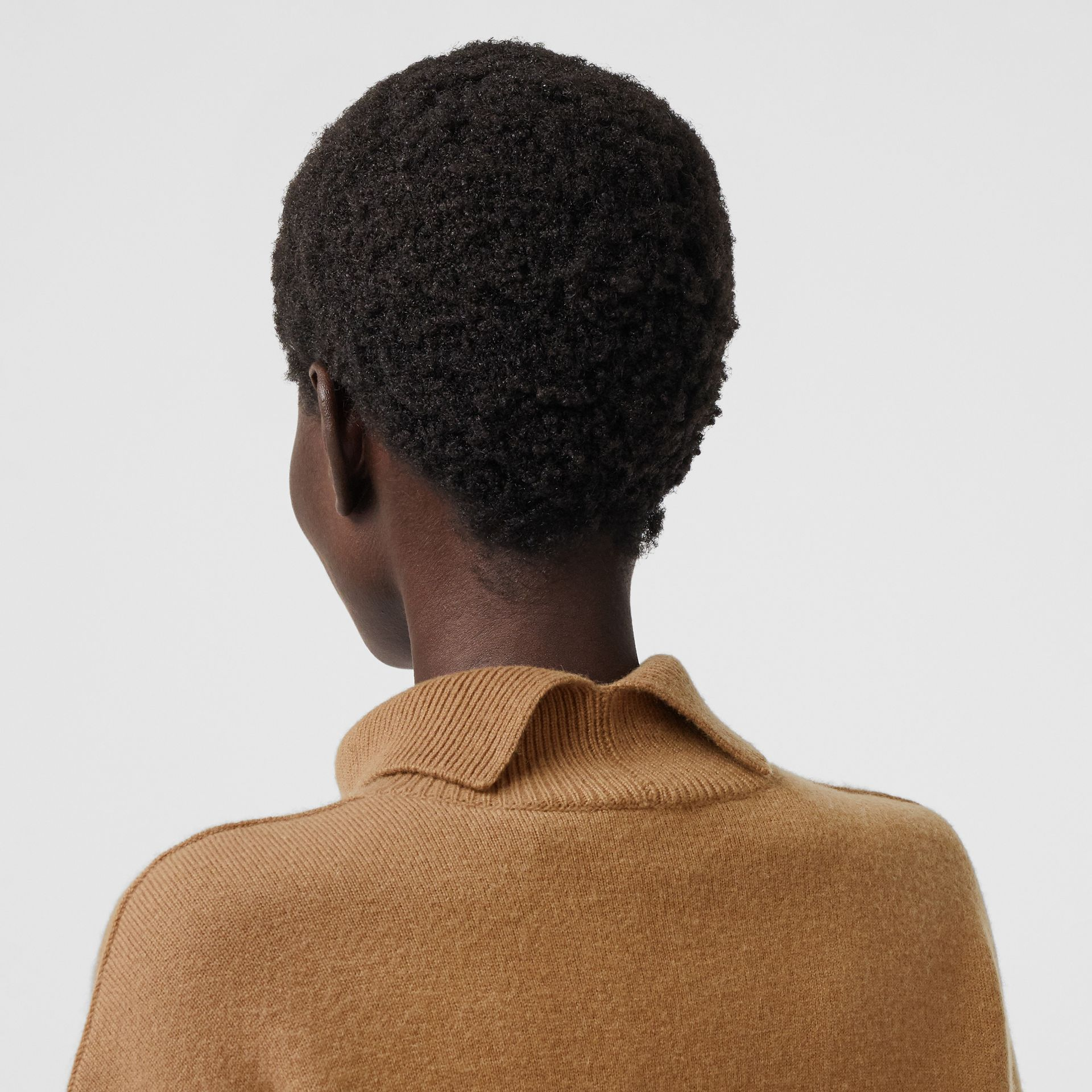Monogram Motif Cashmere Blend Funnel Neck Sweater in Camel - Women | Burberry - gallery image 3