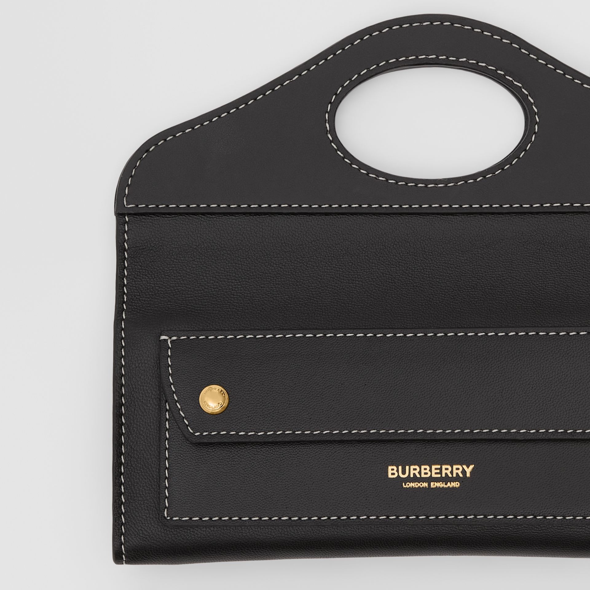 Mini Topstitched Lambskin Pocket Clutch in Black | Burberry - gallery image 1