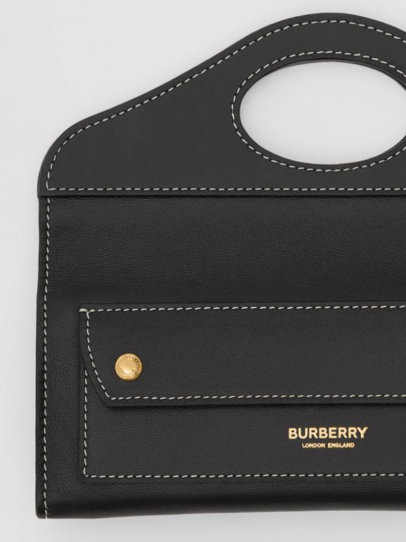 Mini Topstitched Lambskin Pocket Clutch in Black | Burberry - cell image 1