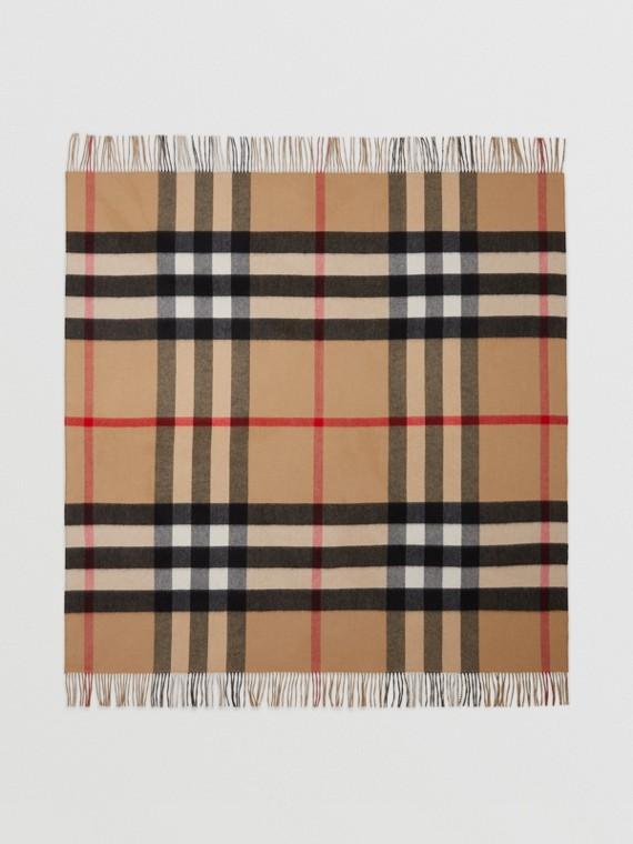 Check Cashmere Blanket in Archive Beige/dark Fern Green