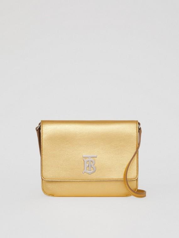 Mini Metallic Lambskin Flat TB Bag in Gold