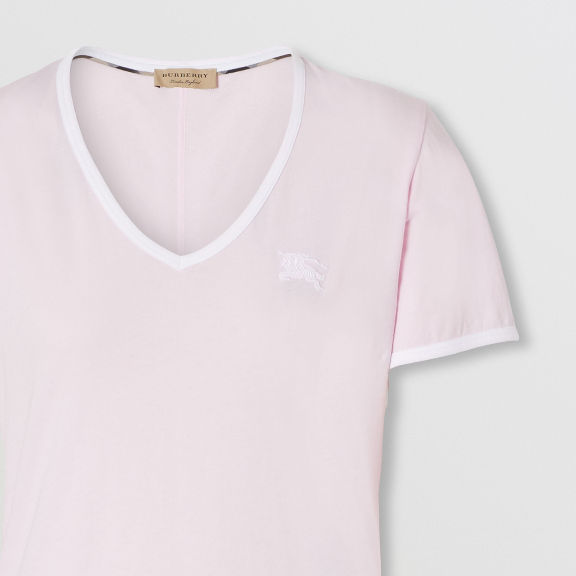 Embroidered EKD Cotton T-shirt in City Pink - Women | Burberry - gallery image 1