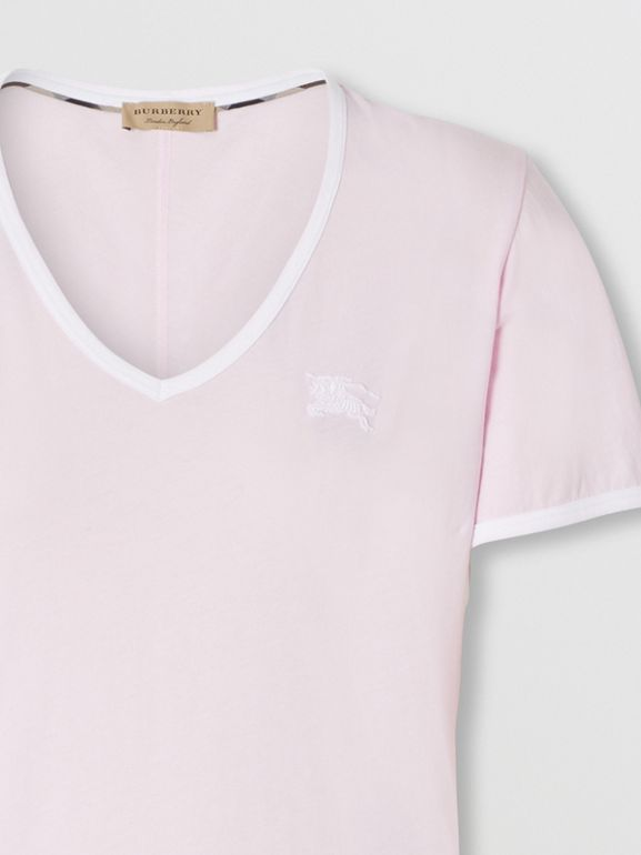 Embroidered EKD Cotton T-shirt in City Pink - Women | Burberry - cell image 1