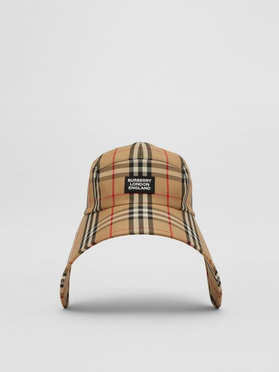 Logo Appliqué Vintage Check Bonnet Cap in Archive Beige