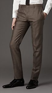 Slim Fit Wool Silk Trousers