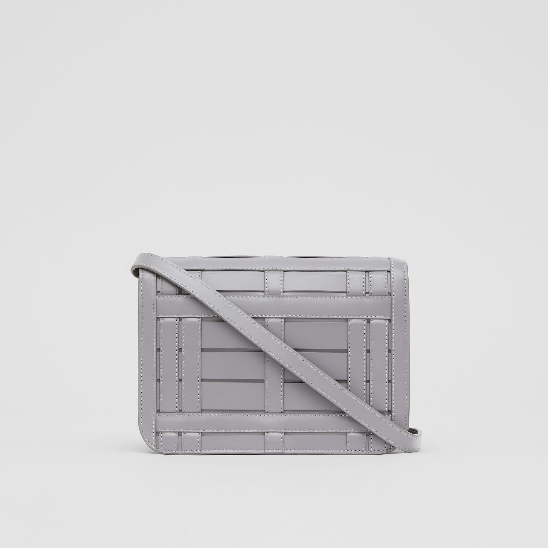 Small Woven Leather TB Bag in Cloud Grey - Women | Burberry - gallery image 7