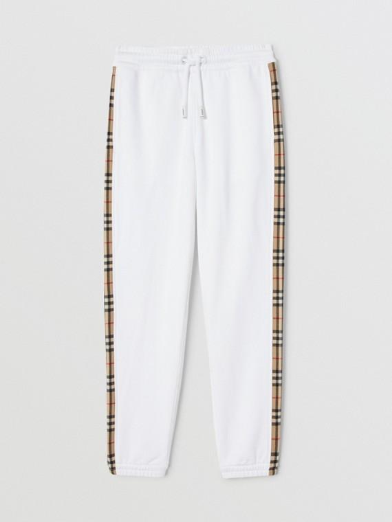 Vintage Check Detail Cotton Jogging Pants in White