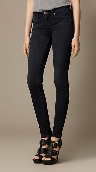 Skinny Fit Low-Rise Washed Indigo Jeans