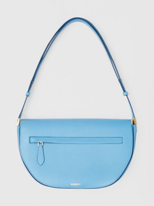 Medium Leather Olympia Bag in Blue Topaz