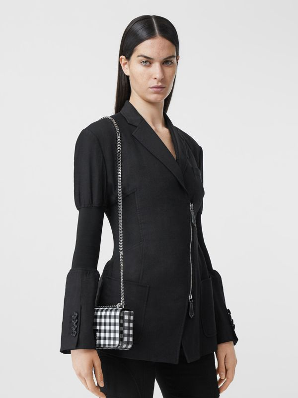 Mini Gingham Leather Lola Bag in Black/white - Women | Burberry - cell image 2