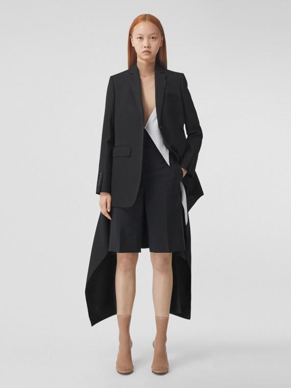 Geometric Print Panel Mohair Wool Shorts in Black