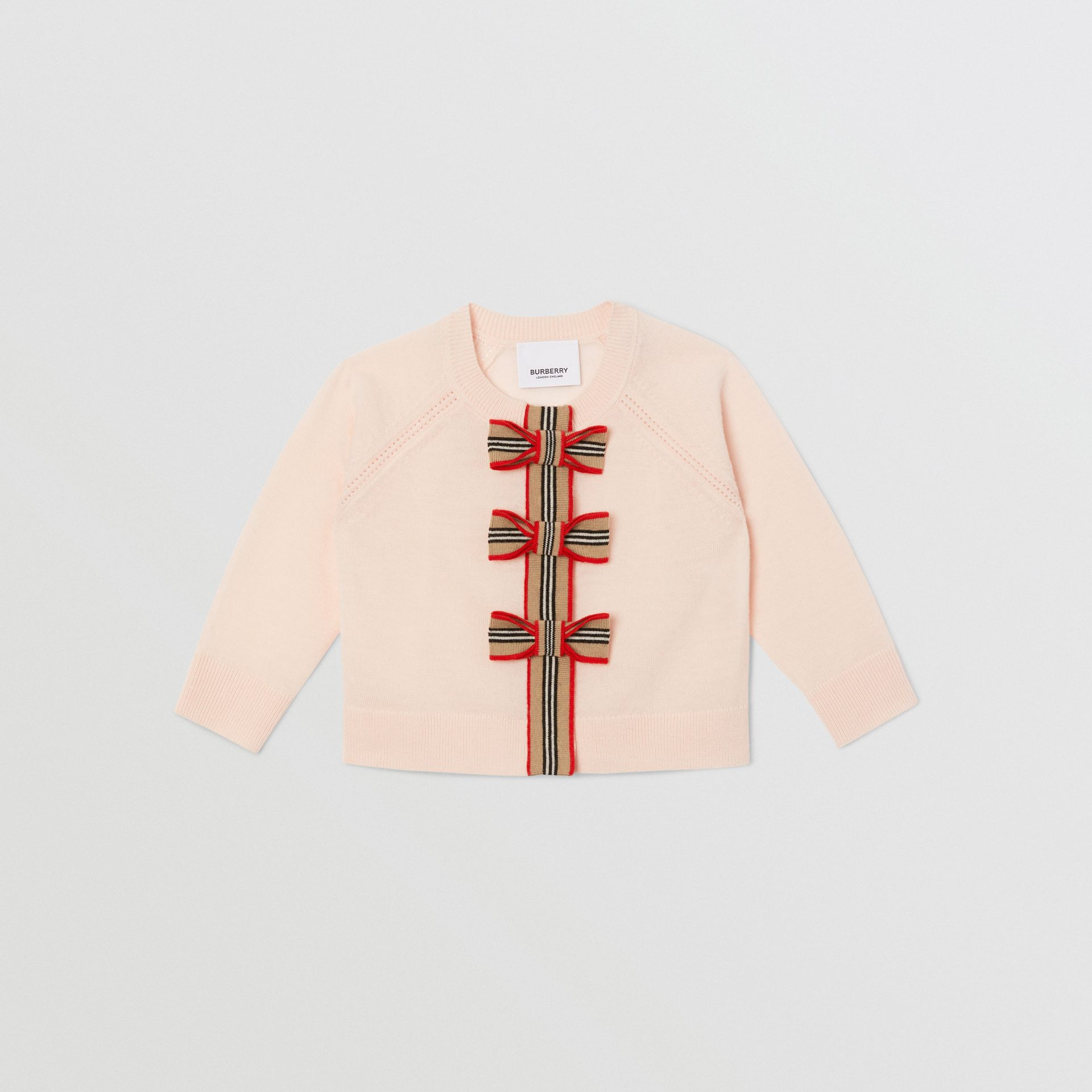 Icon Stripe Trim Merino Wool Two-piece Set in Soft Pink - Children | Burberry United Kingdom - gallery image 0