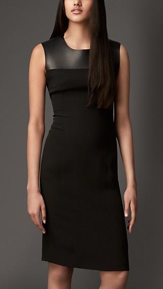 Leather Panel Silk Shift Dress