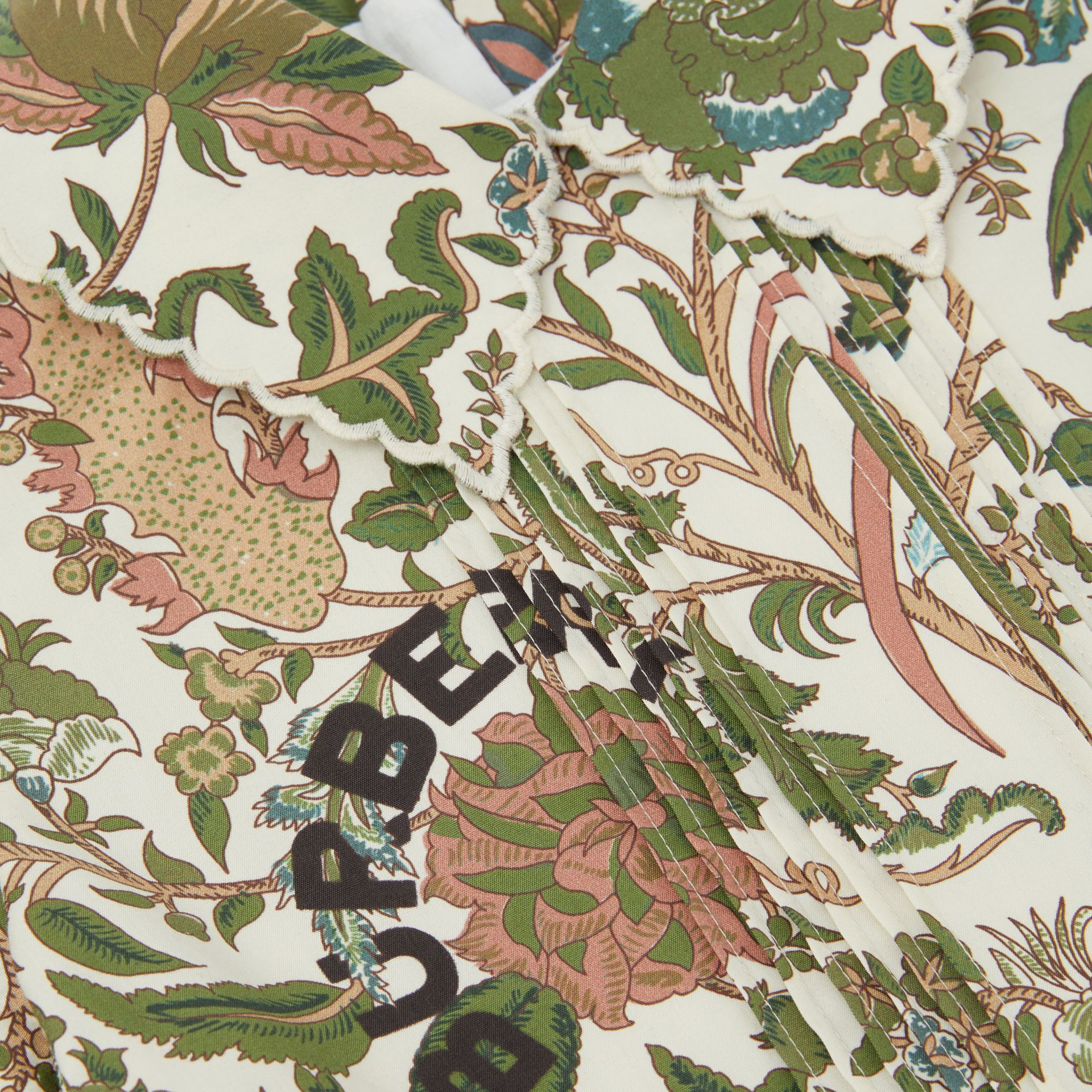 Botanical Print Cotton Dress in Olive | Burberry Hong Kong S.A.R - gallery image 1