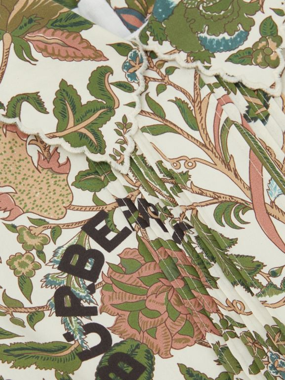 Botanical Print Cotton Dress in Olive | Burberry Hong Kong S.A.R - cell image 1