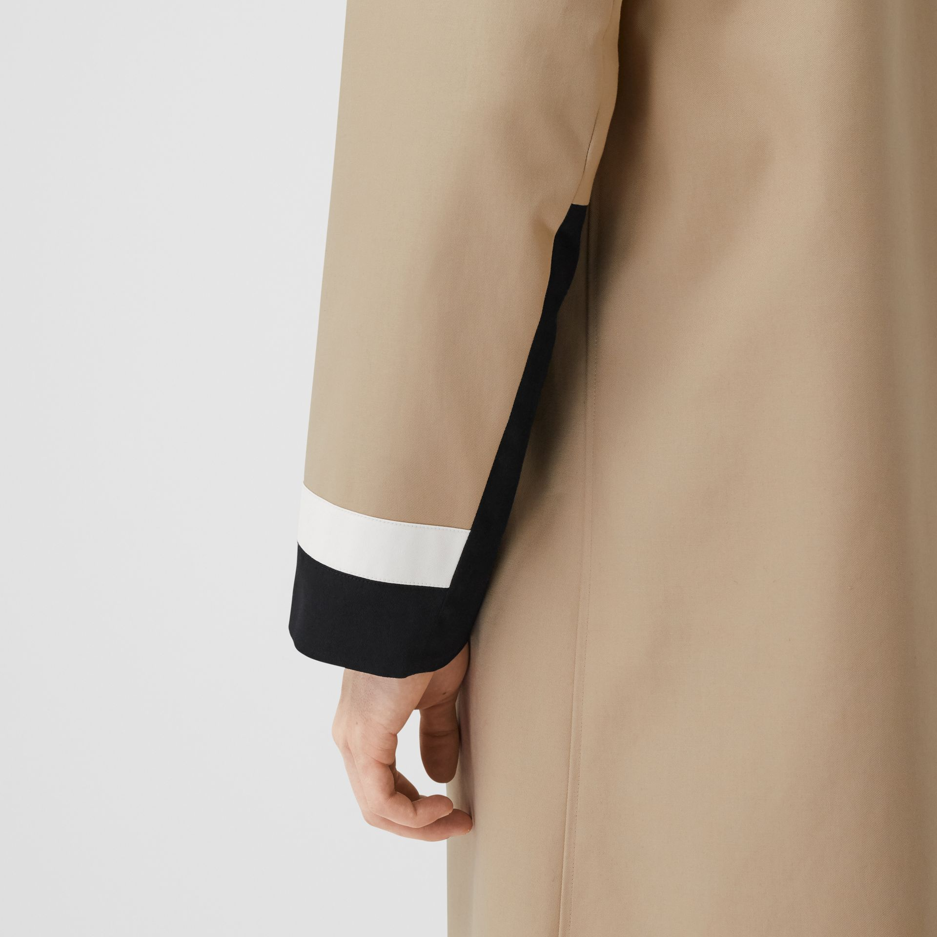 Stripe Detail Cotton Gabardine Car Coat in Soft Fawn - Men | Burberry United Kingdom - gallery image 5