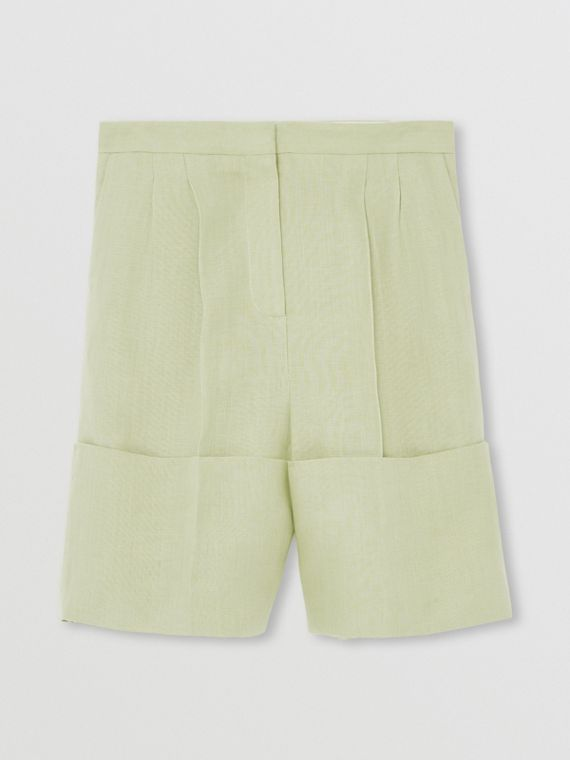 Pantaloncini sartoriali in lino con orli oversize (Verde Nebbia)