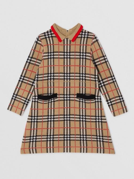 Long-sleeve Check Merino Wool Jacquard Dress in Archive Beige