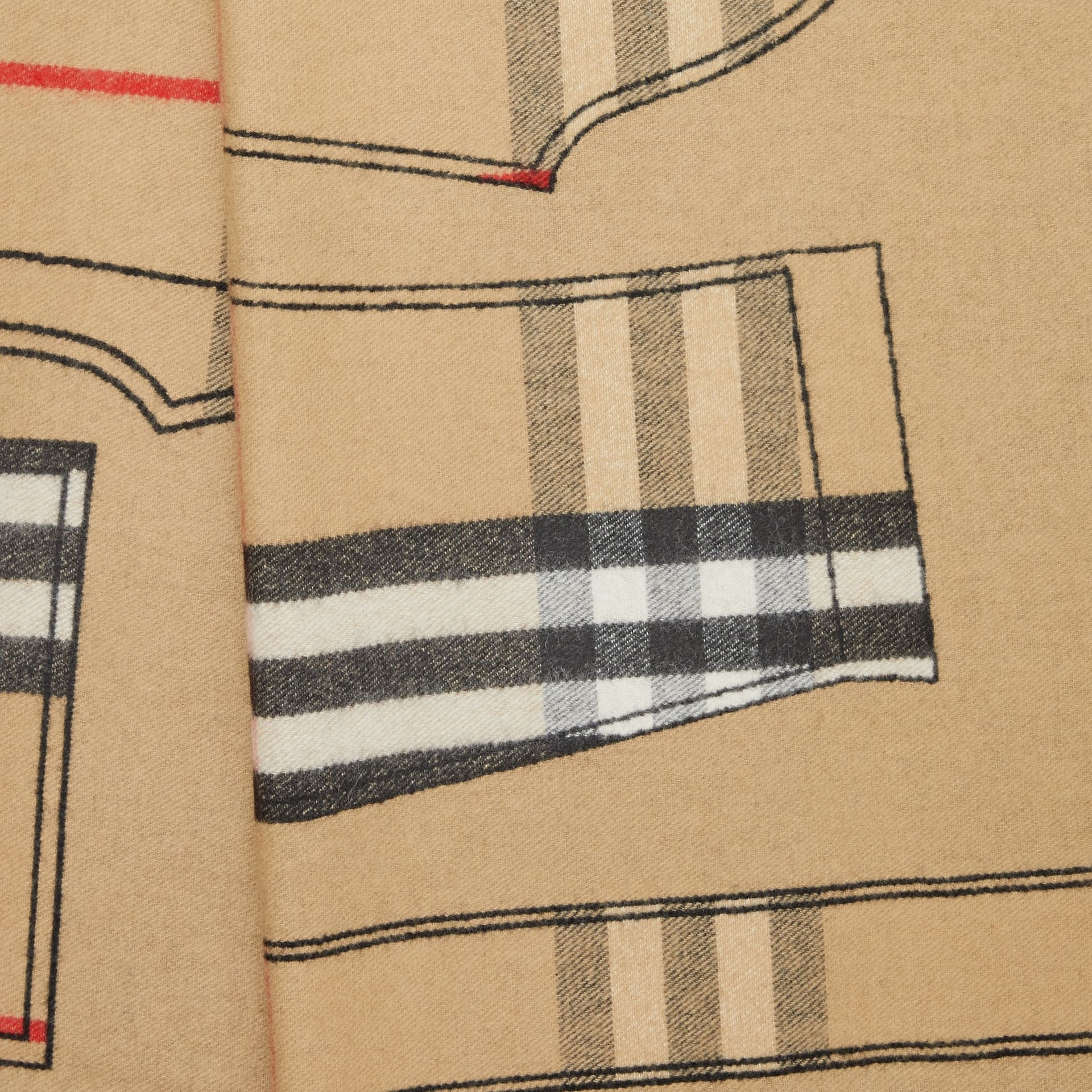 Archive Trench Coat Pattern Cashmere Jacquard Scarf in Beige | Burberry - gallery image 1