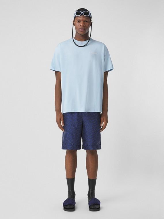 Pantaloncini in seta con stampa monogramma (Blu Reale Scuro)