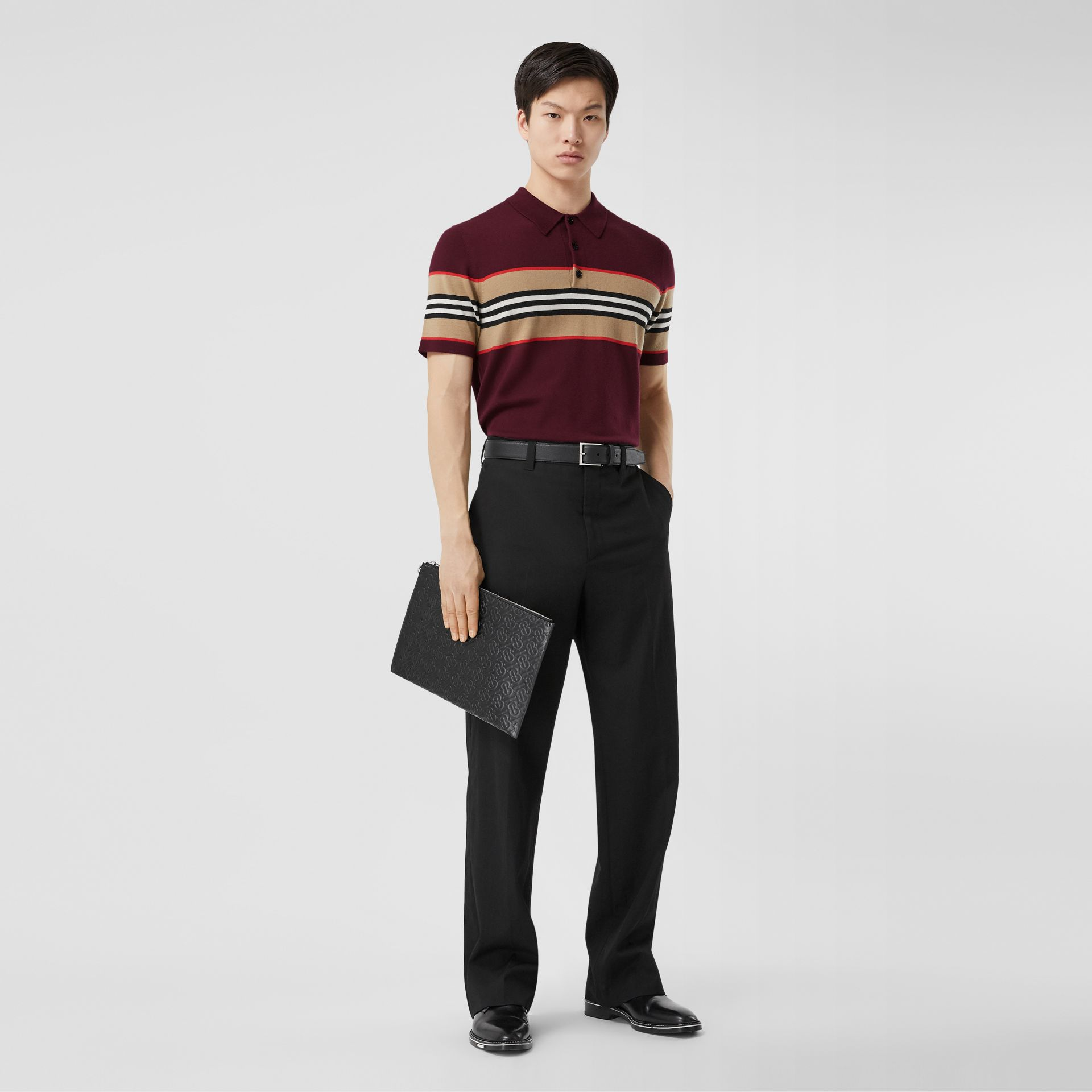 Icon Stripe Detail Merino Wool Polo Shirt in Deep Merlot - Men | Burberry - gallery image 4
