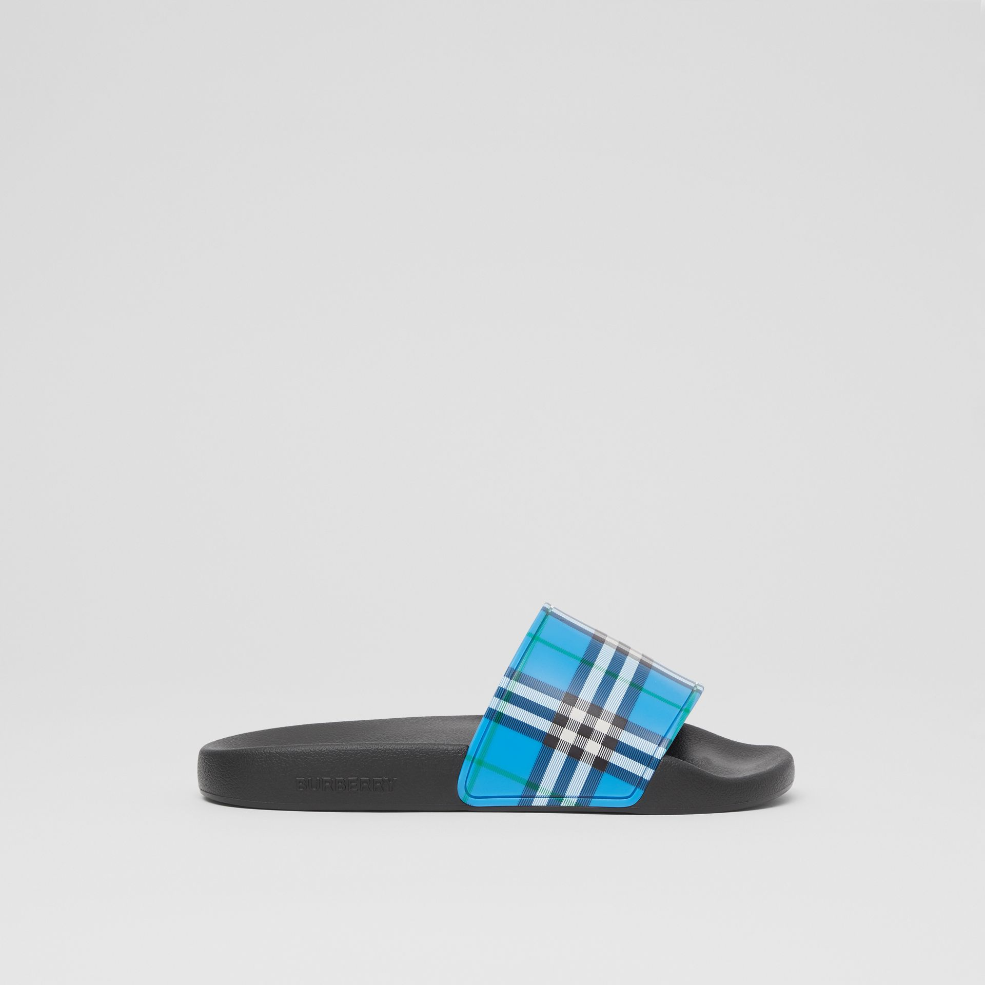 Check Print Slides in Blue Azure - Women | Burberry United Kingdom - gallery image 4