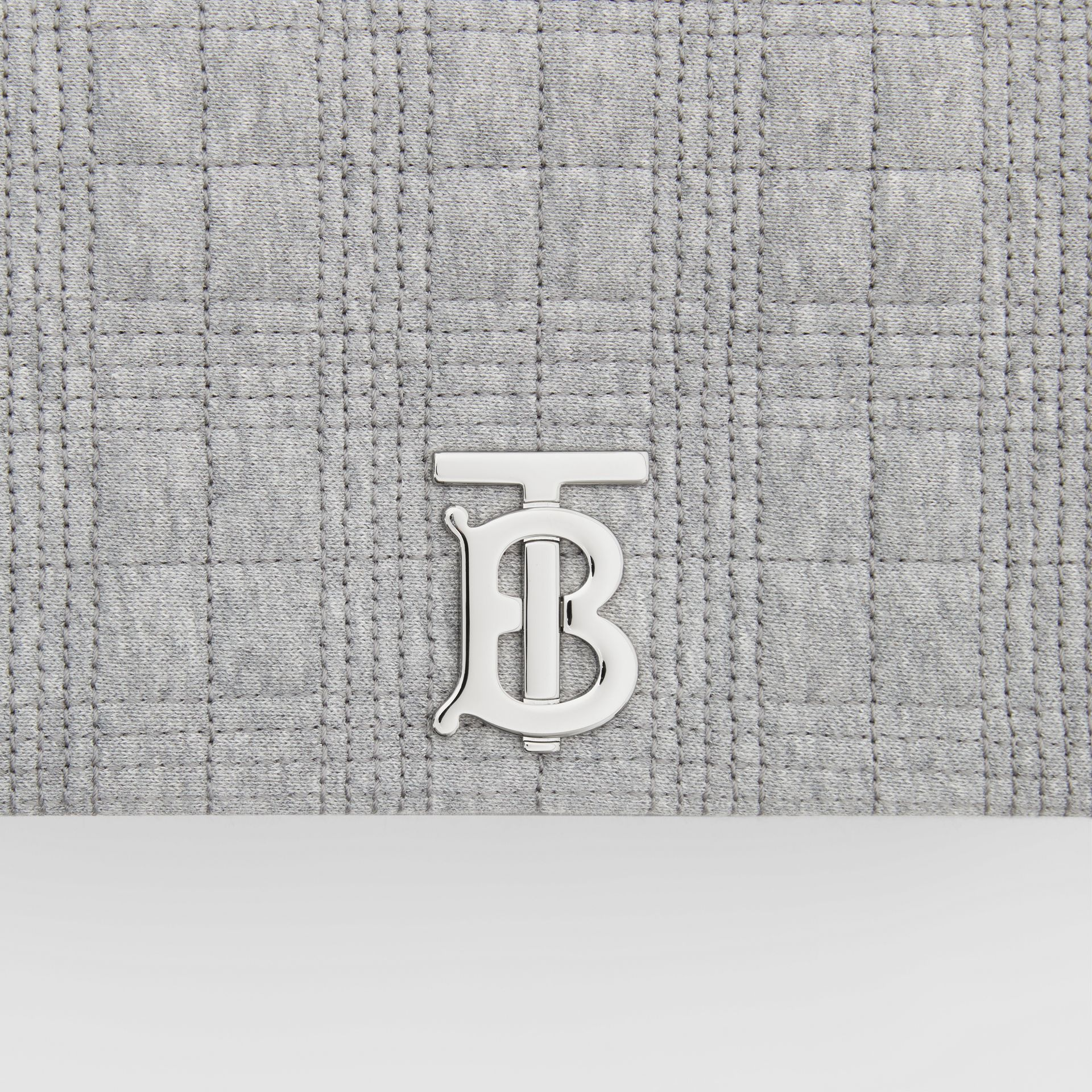 Small Quilted Jersey Lola Bag in Grey Taupe Melange | Burberry - gallery image 1