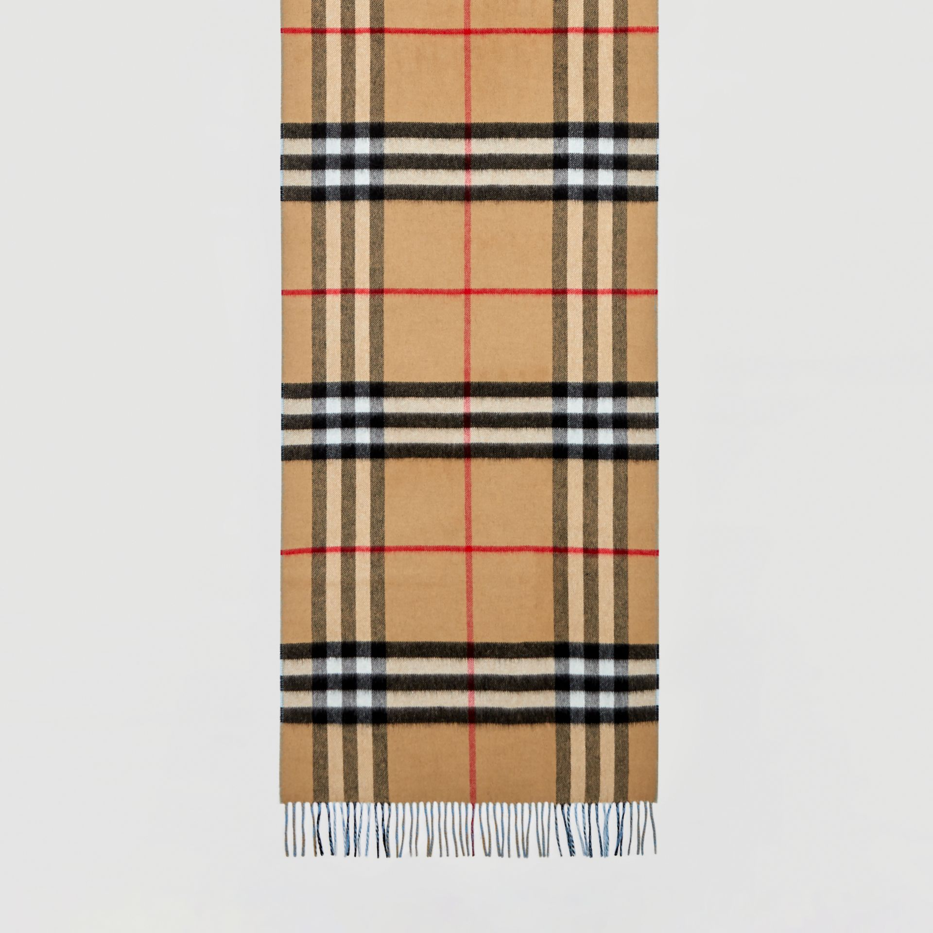 Reversible Check Cashmere Scarf in Blue Topaz | Burberry - gallery image 4