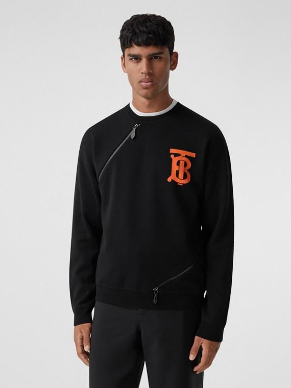 Monogram Motif Intarsia Merino Wool Blend Sweater in Black