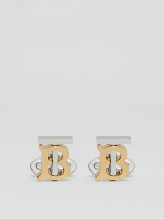 Monogram Motif Gold and Palladium-plated Cufflinks in Light Gold/palladium