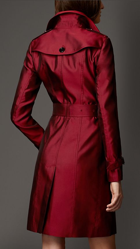 Military red Silk Blend Trench Coat - Image 2