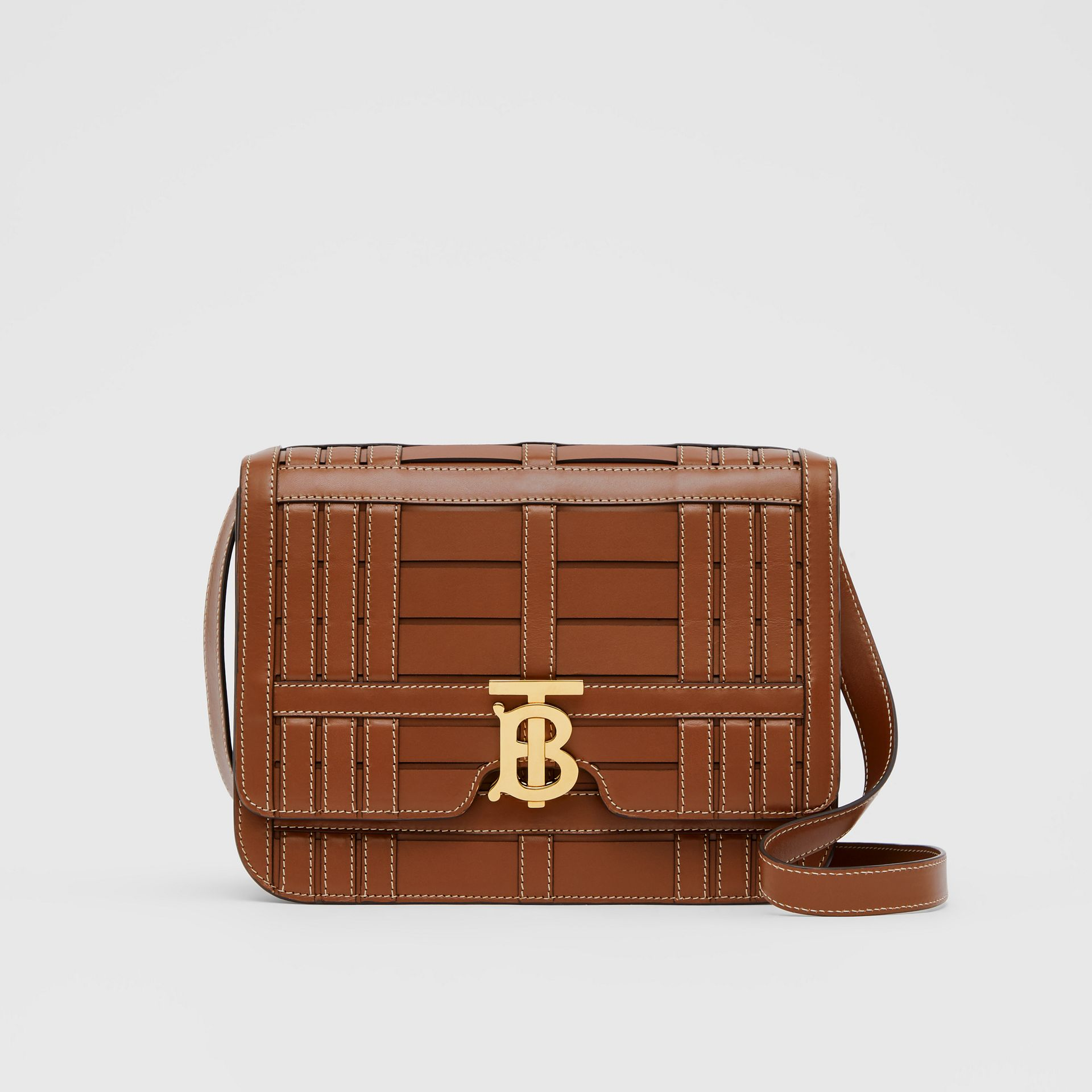 Medium Woven Leather TB Bag in Tan - Women | Burberry - gallery image 0