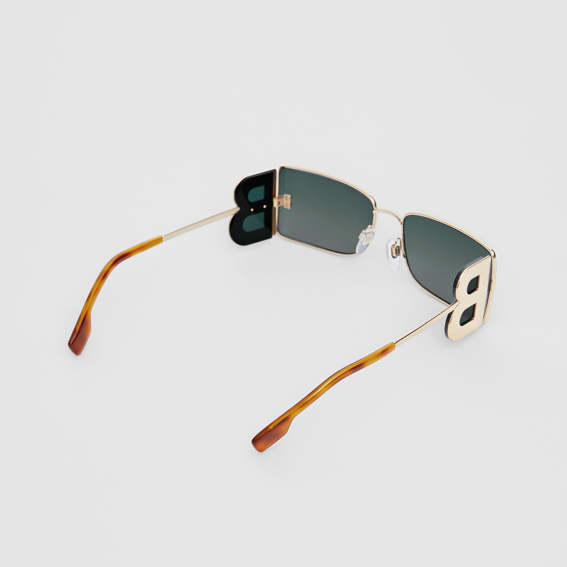 'B' Lens Detail Rectangular Frame Sunglasses in Tortoiseshell | Burberry - gallery image 5