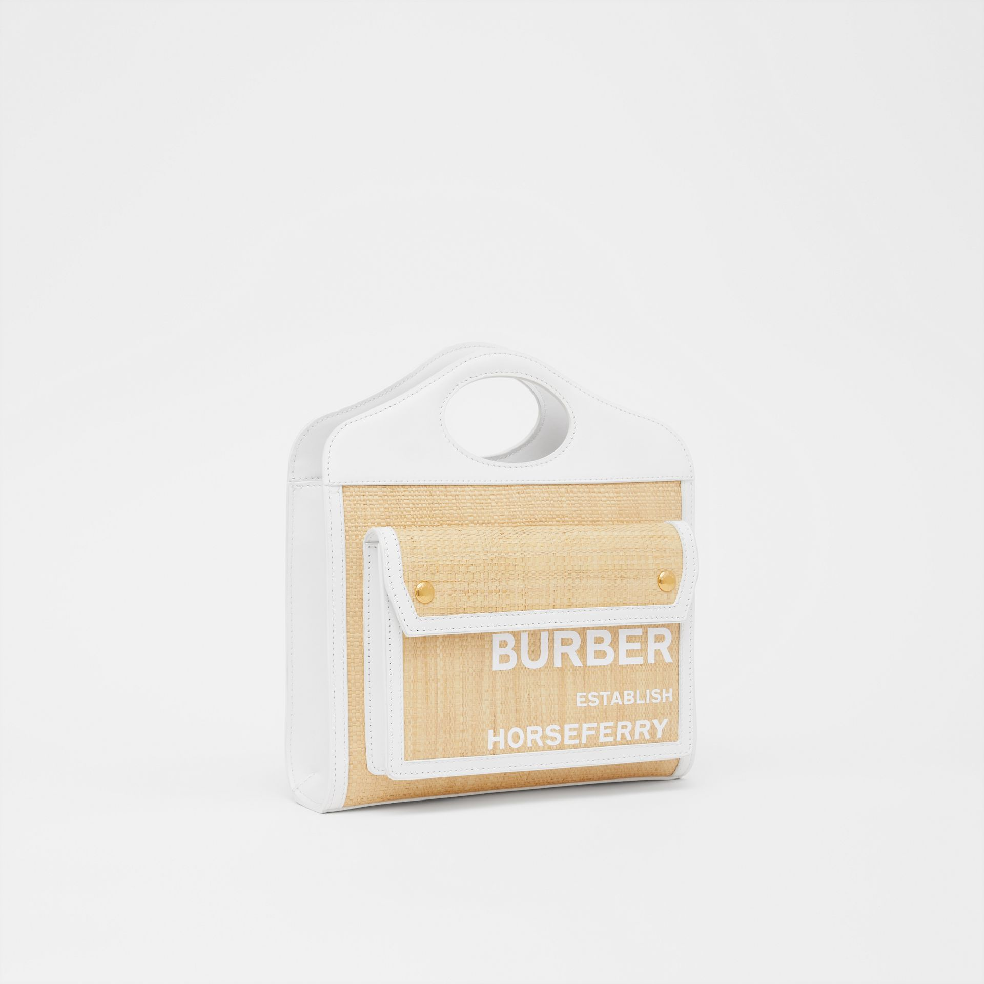 Mini Two-tone Raffia and Leather Pocket Bag in Natural | Burberry United States - gallery image 6