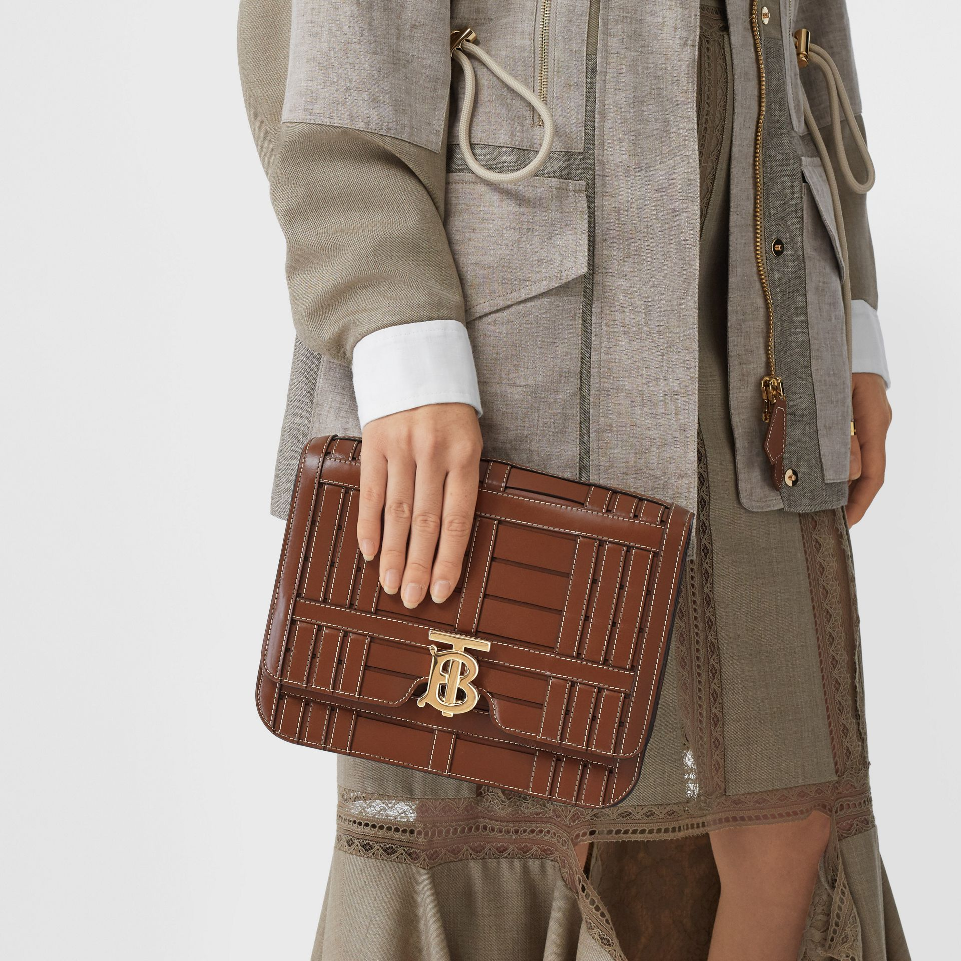 Medium Woven Leather TB Bag in Tan - Women | Burberry - gallery image 8