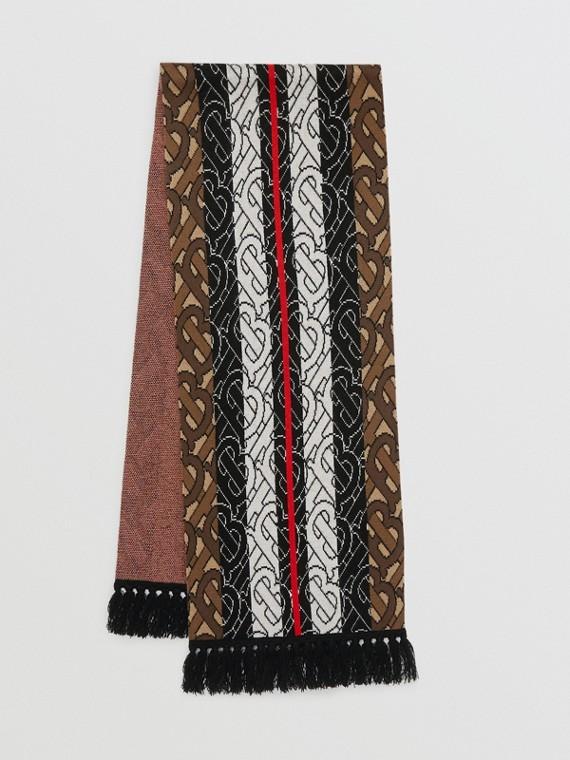 Cachecol de cashmere com listras e monograma (Marrom)