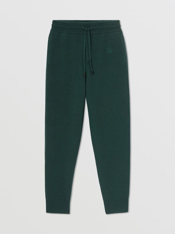 Monogram Motif Cashmere Blend Jogging Pants in Bottle Green - Women | Burberry - cell image 3