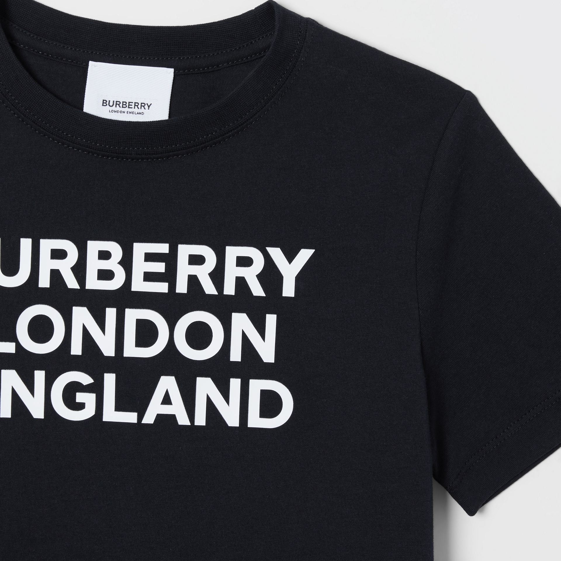 Logo Print Cotton T-shirt in Black | Burberry - gallery image 5