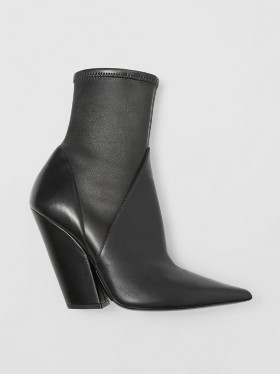Panelled Lambskin Ankle Boots in Black