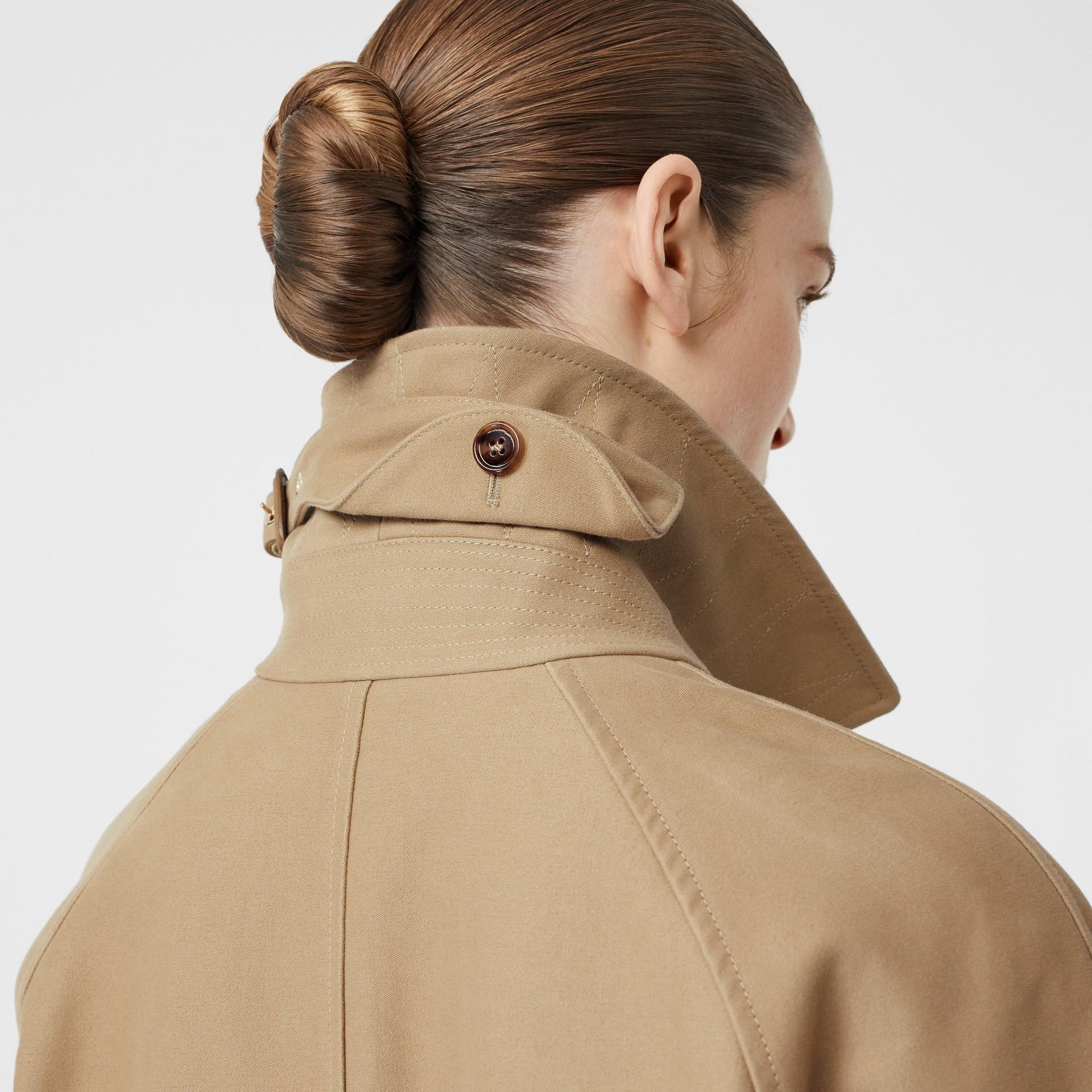 Scarf Detail Cotton Gabardine Car Coat in Honey - Women | Burberry United Kingdom - gallery image 4