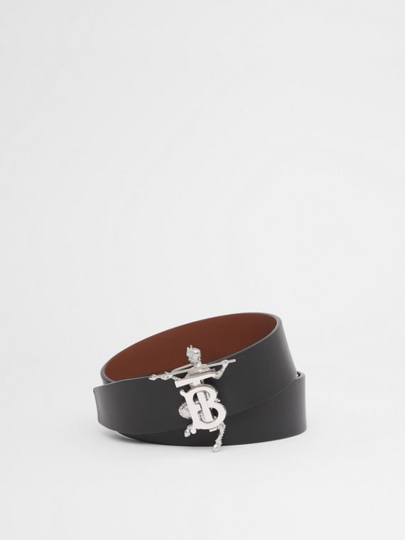 Mythical Alphabet Monogram Motif Leather Belt in Black