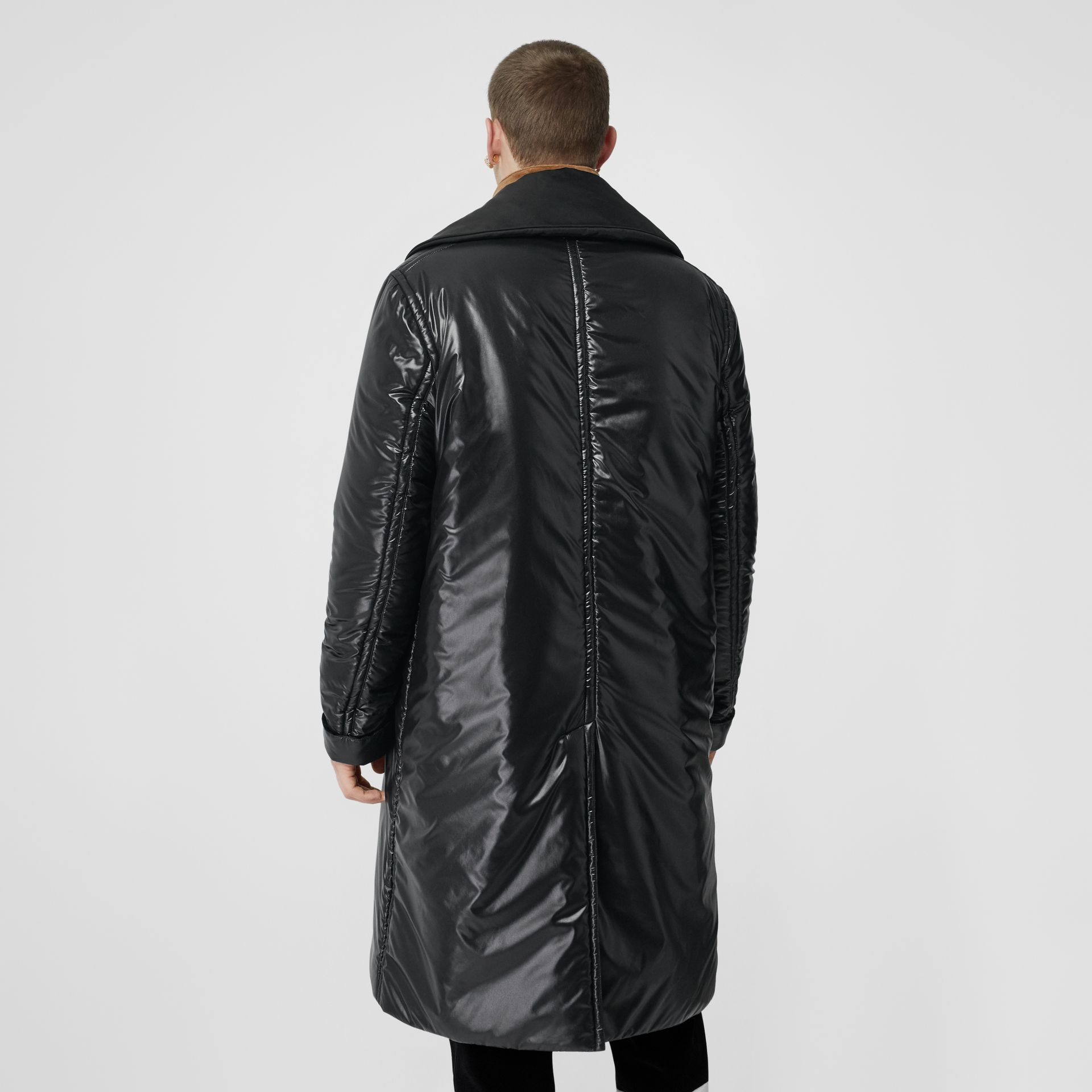 Detachable Funnel Neck Padded Nylon Car Coat in Black - Men | Burberry United Kingdom - gallery image 2