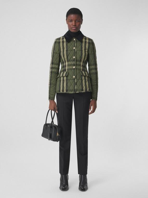 Corduroy Collar Diamond Quilted Barn Jacket in Dark Military Green
