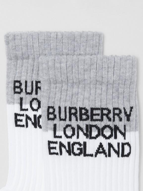 徽標嵌花科技伸縮棉質襪 (白色/混合灰) | Burberry - cell image 1