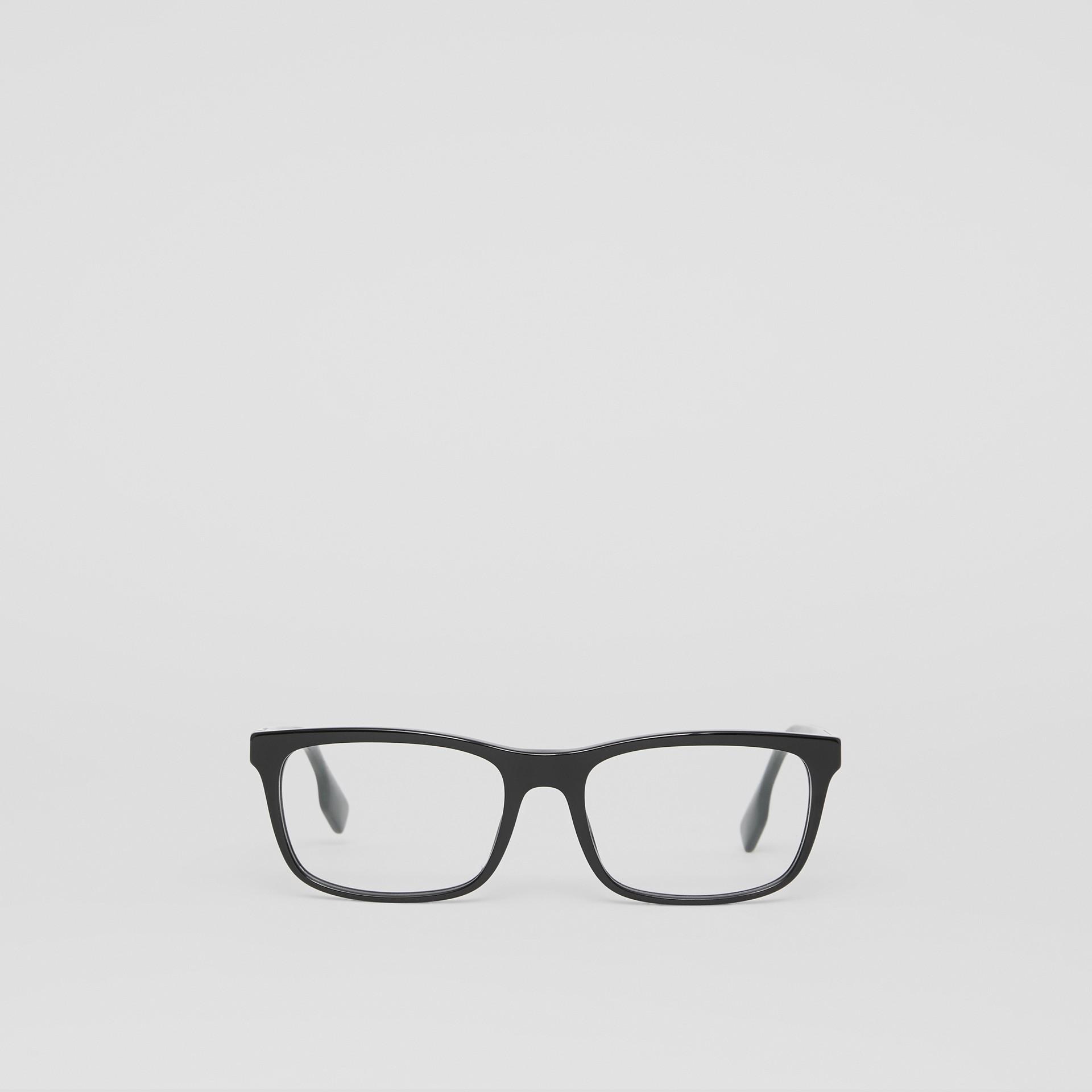 Montatura da vista rettangolare con iconico motivo a righe (Nero) - Uomo | Burberry - immagine della galleria 0