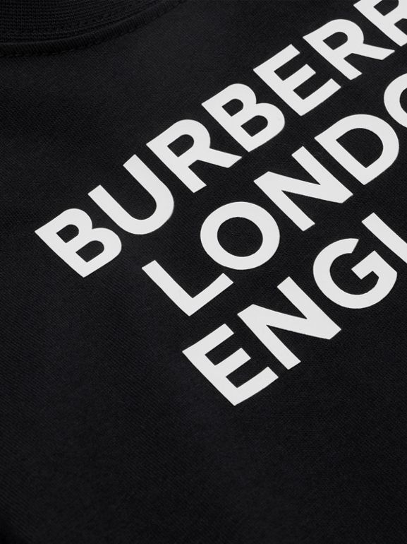 Logo Print Cotton T-shirt in Black - Children | Burberry - cell image 1