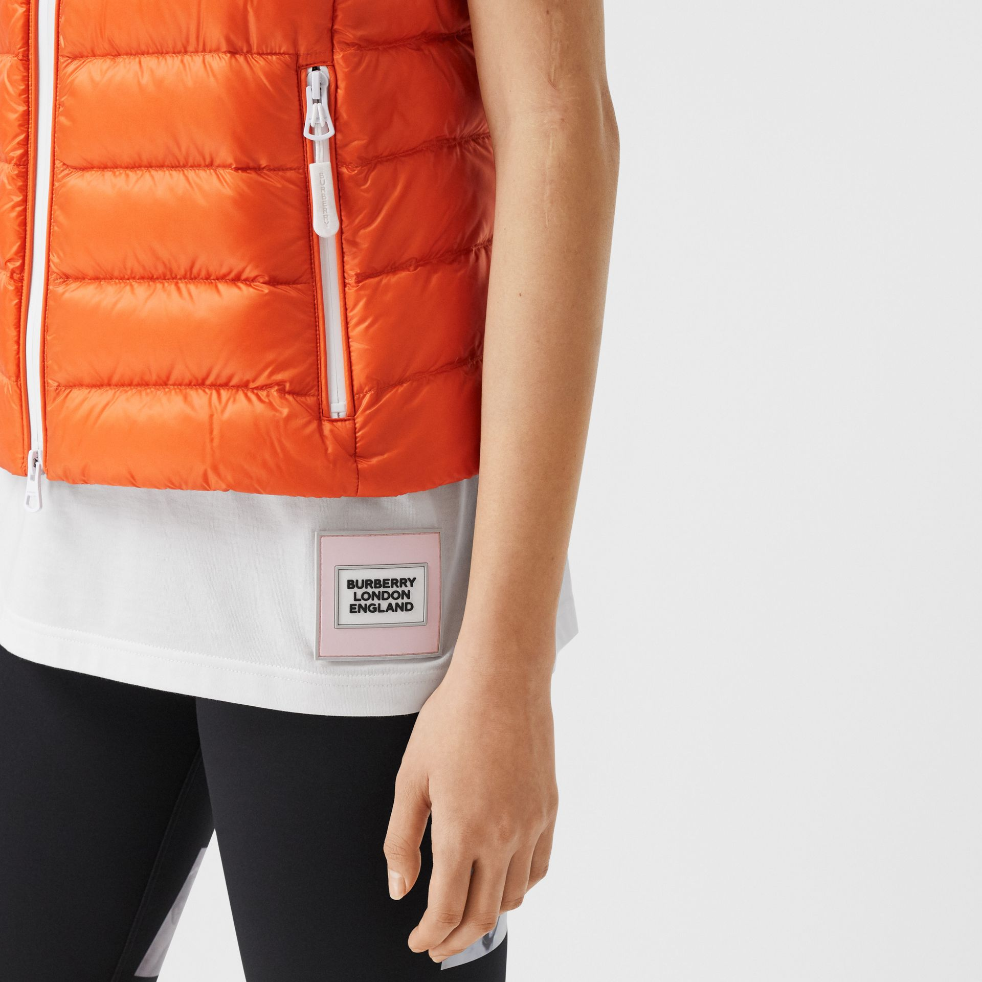 Logo Print Lightweight Puffer Gilet in Bright Orange - Women | Burberry - gallery image 4