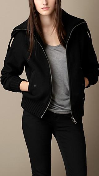Merino Wool Jacket with Knit Detail