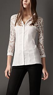 Lace Panel Cotton Shirt